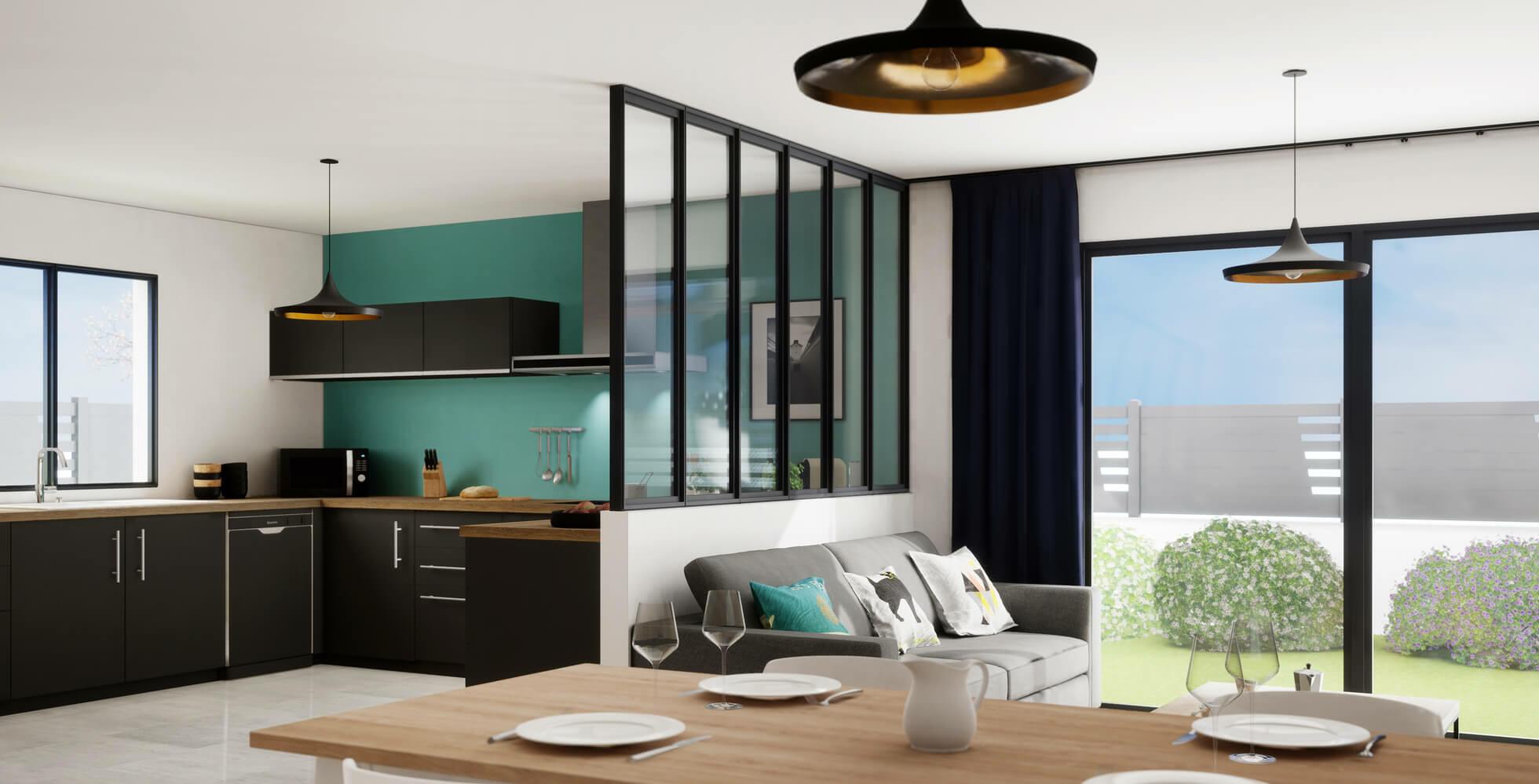 una cucina aperta sulla sala da pranzo con una parete divisoria in vetro
