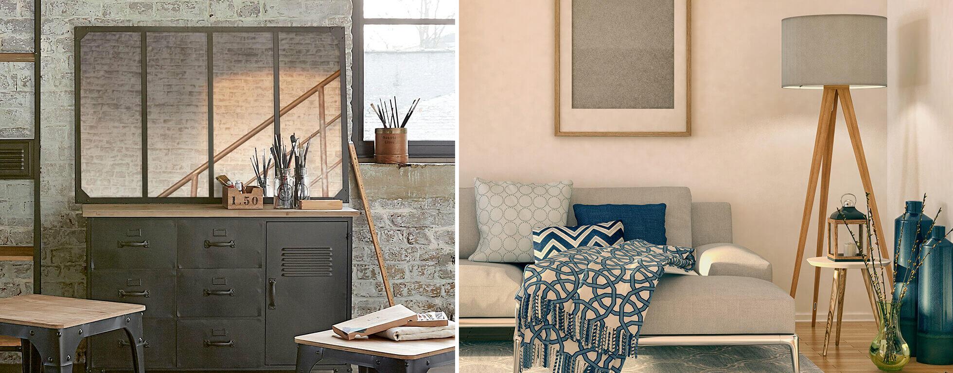 pièces décorée avec miroir industriel et déco textile tendance