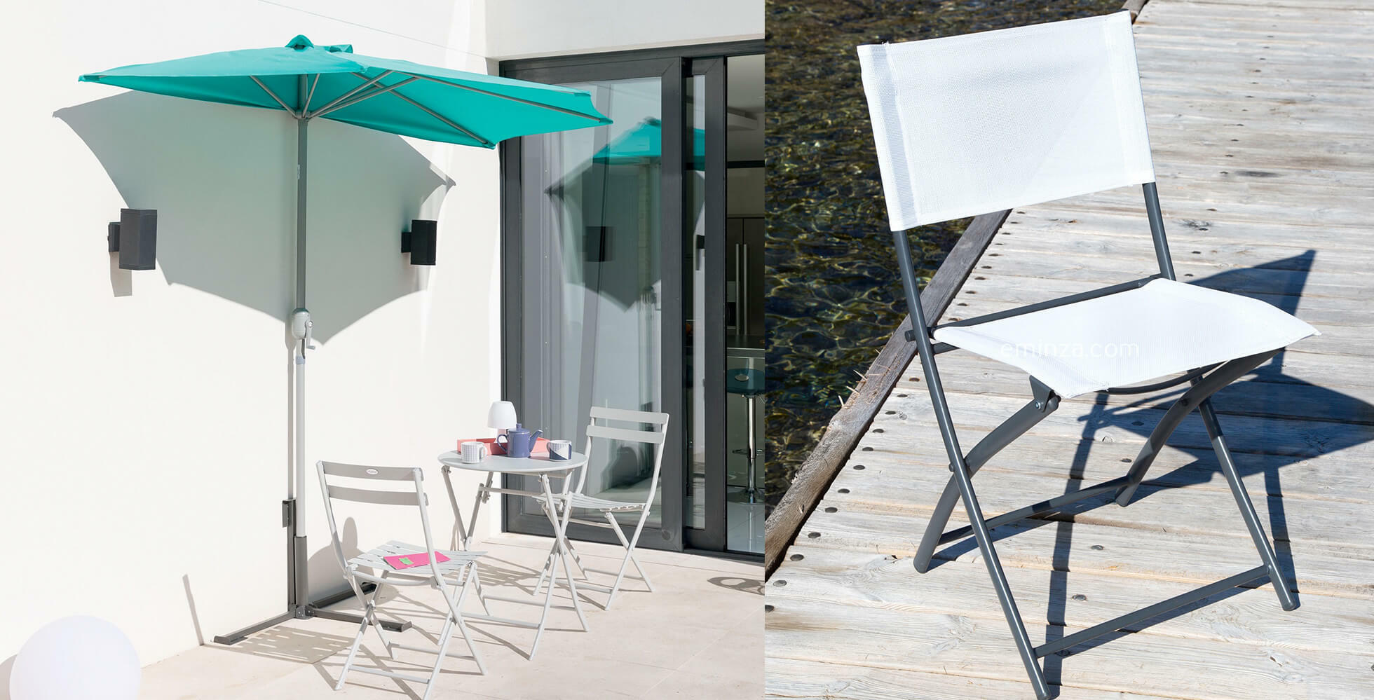balcone con un mezzo ombrellone murale e tavolini e sedie per esterno