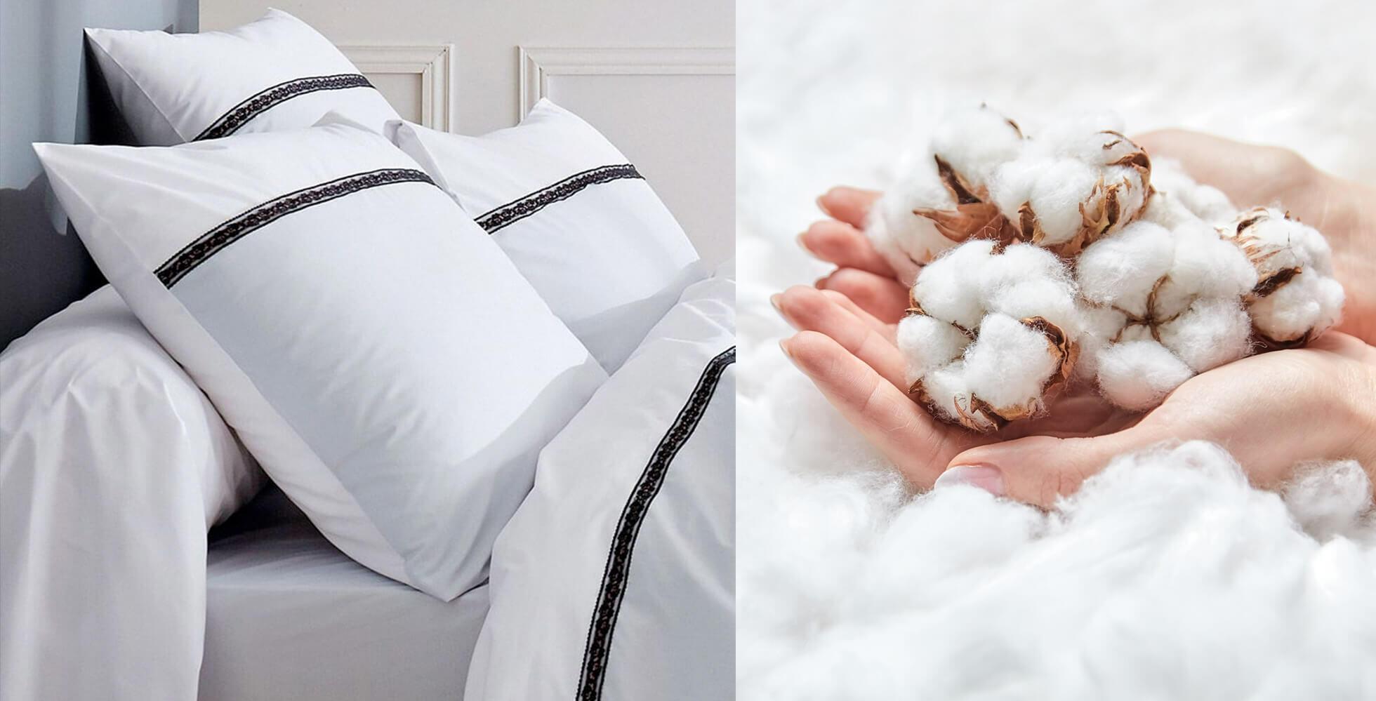 linge de lit blanc et fleurs de coton