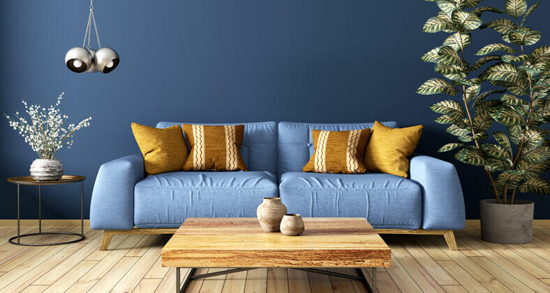 salone moderno blu