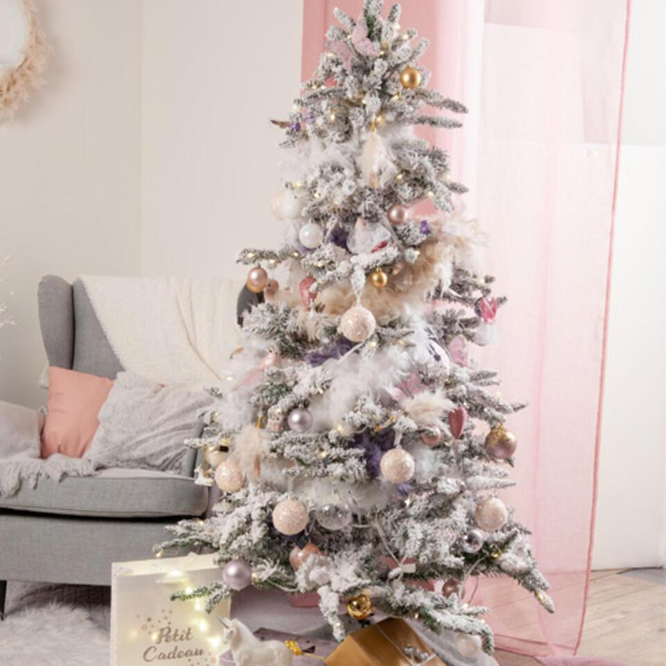 sapin de Noël déco rose et blanche