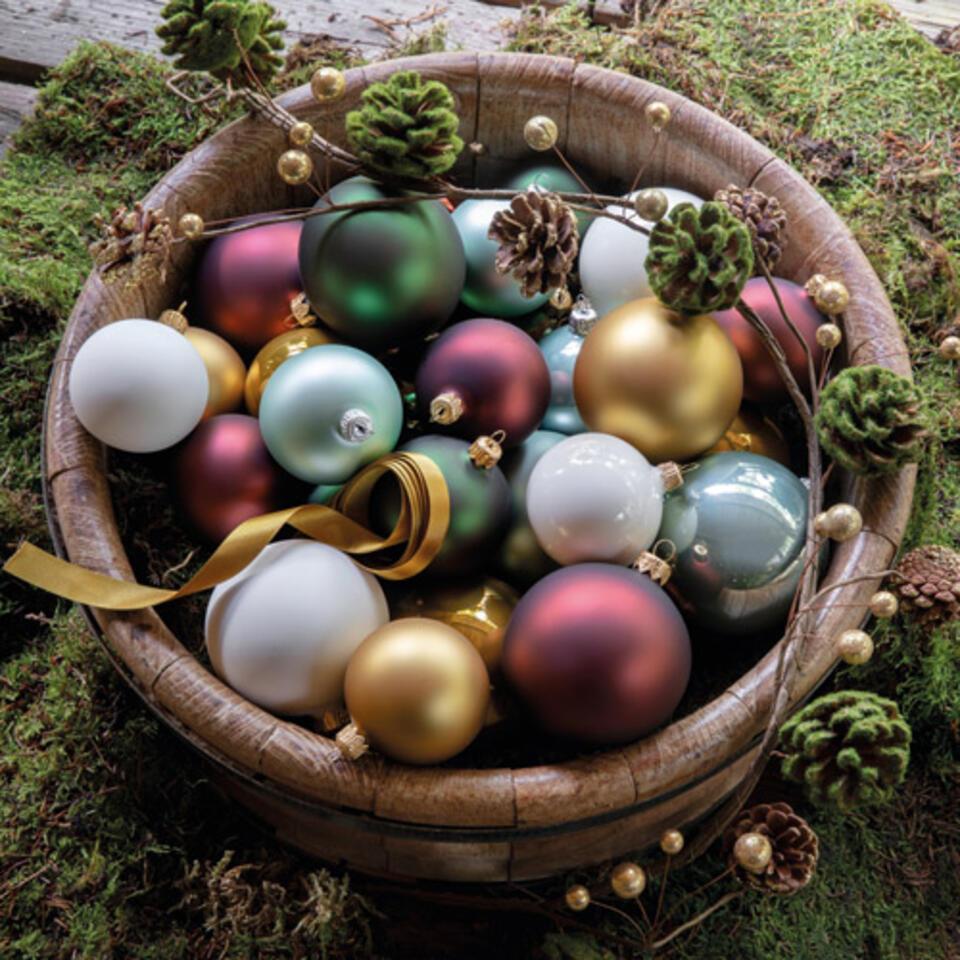 boules de Noël jaune moutarde et rouge brun