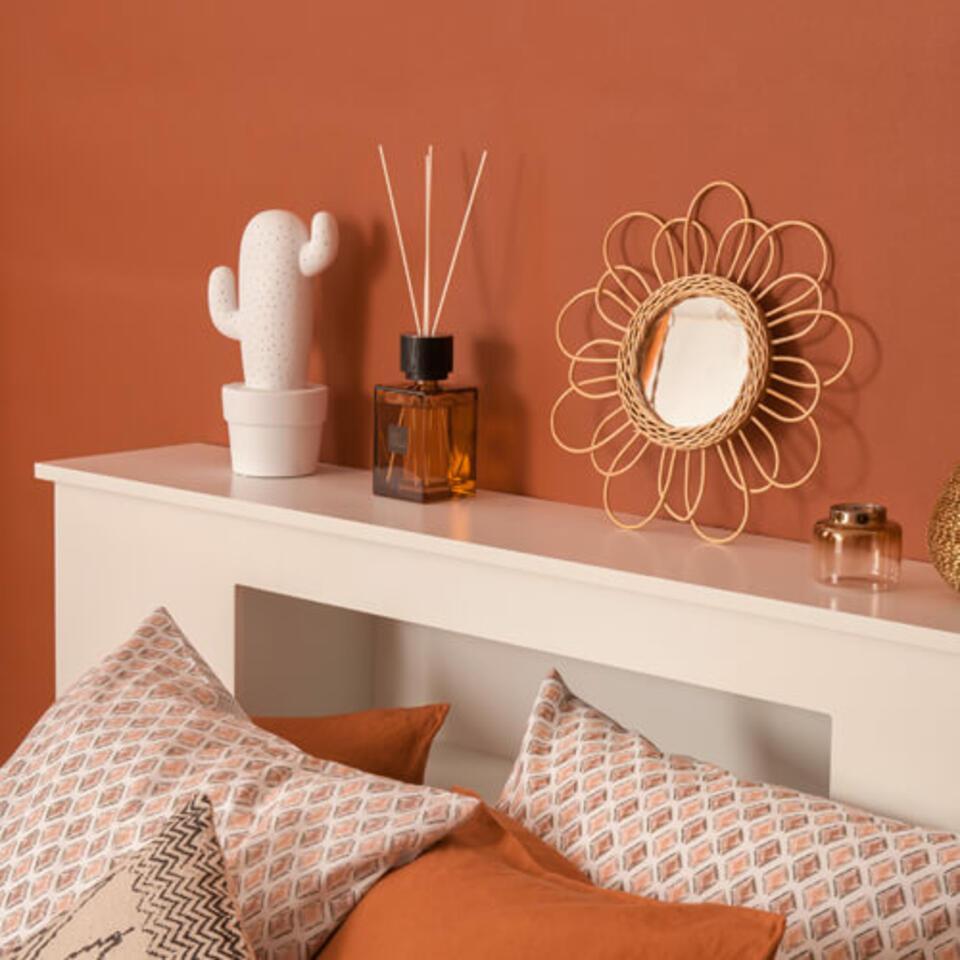 camera da letto colore terracotta