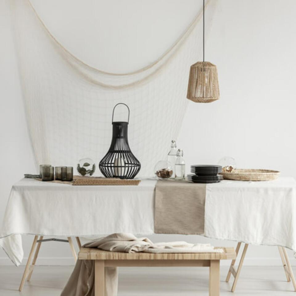 sala da pranzo materiali naturali