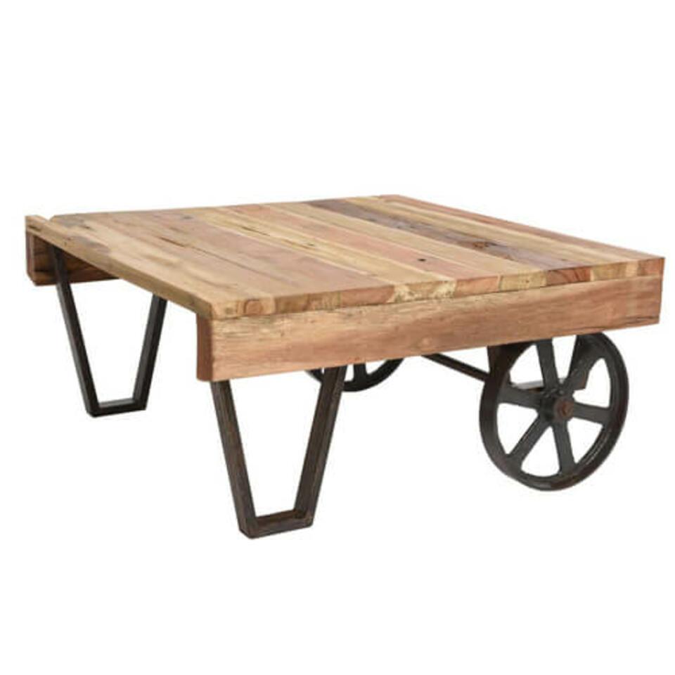 table en bois et métal à roulettes