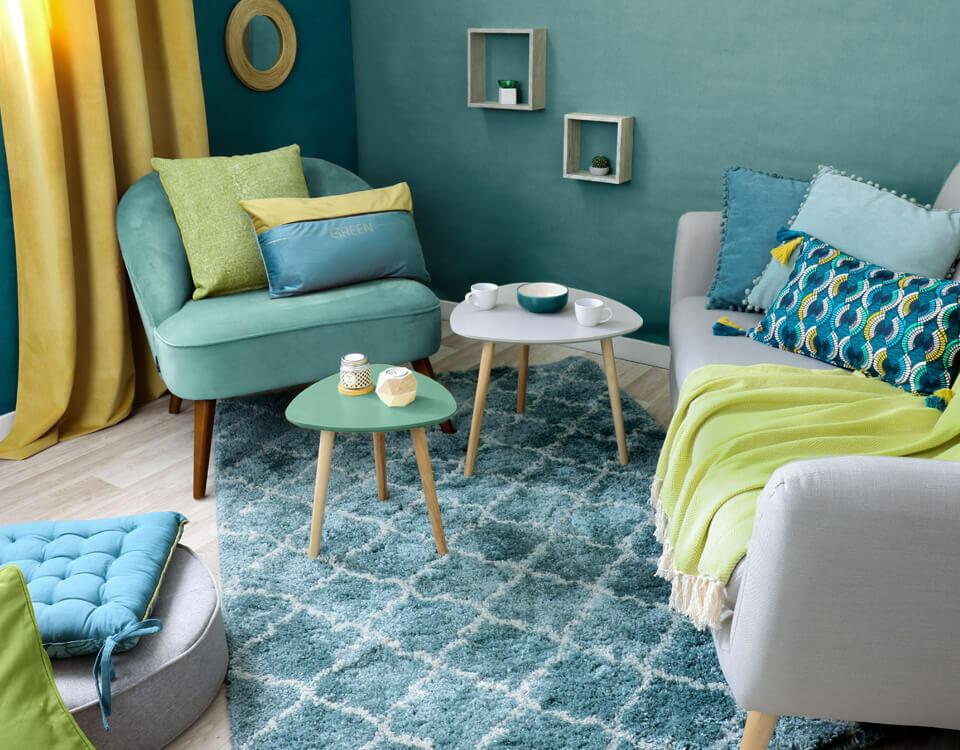 salotto blu verde e giallo
