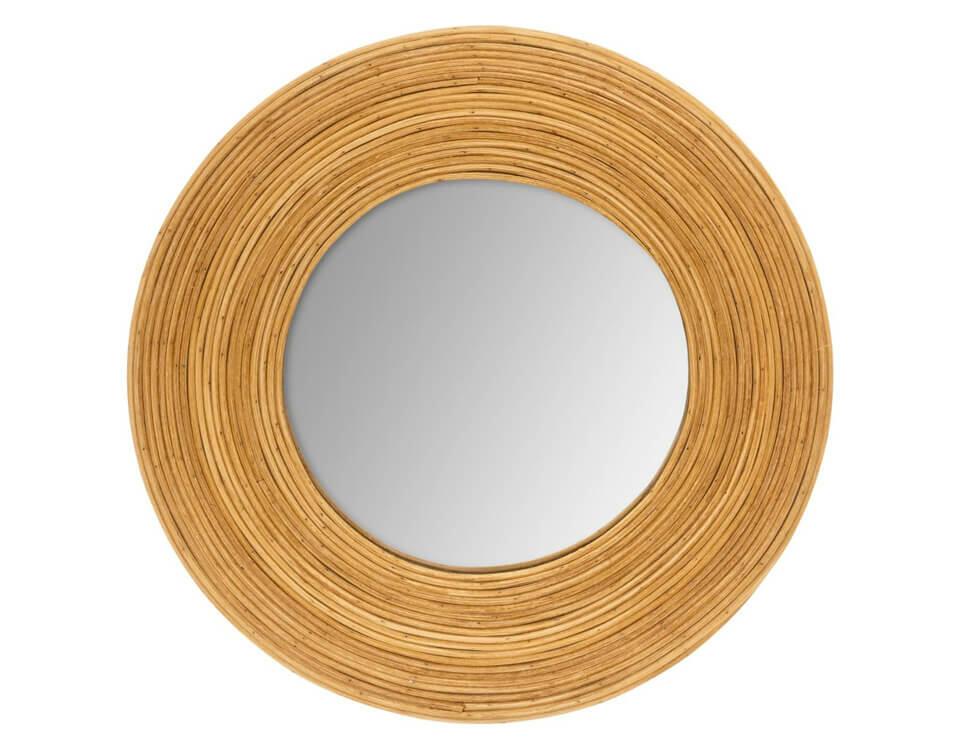 miroir rond bois clair