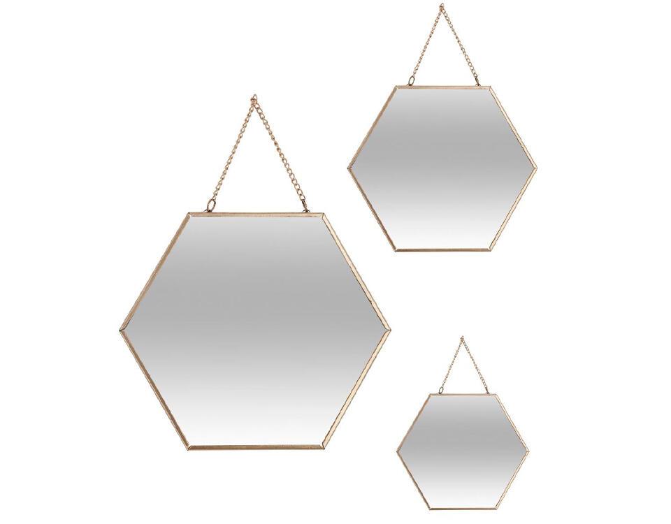 miroir métal doré hexagone