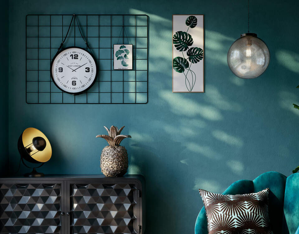 décoration murale avec horloge noir
