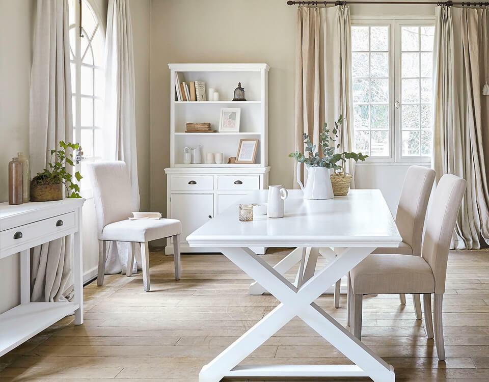 salle à manger meubles blancs