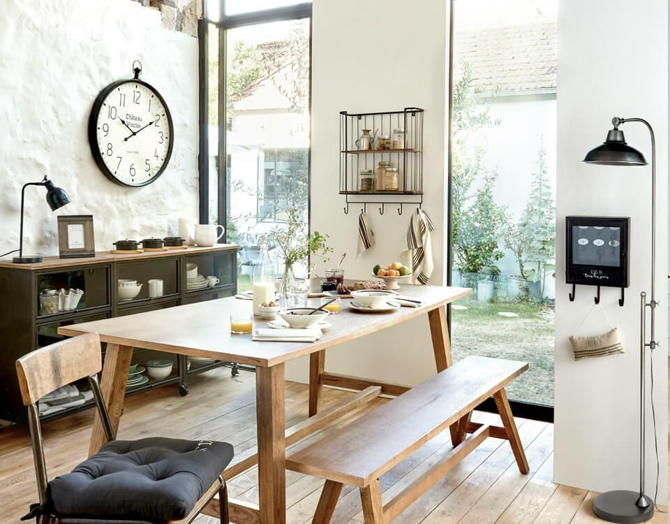 salle à manger industrielle bois