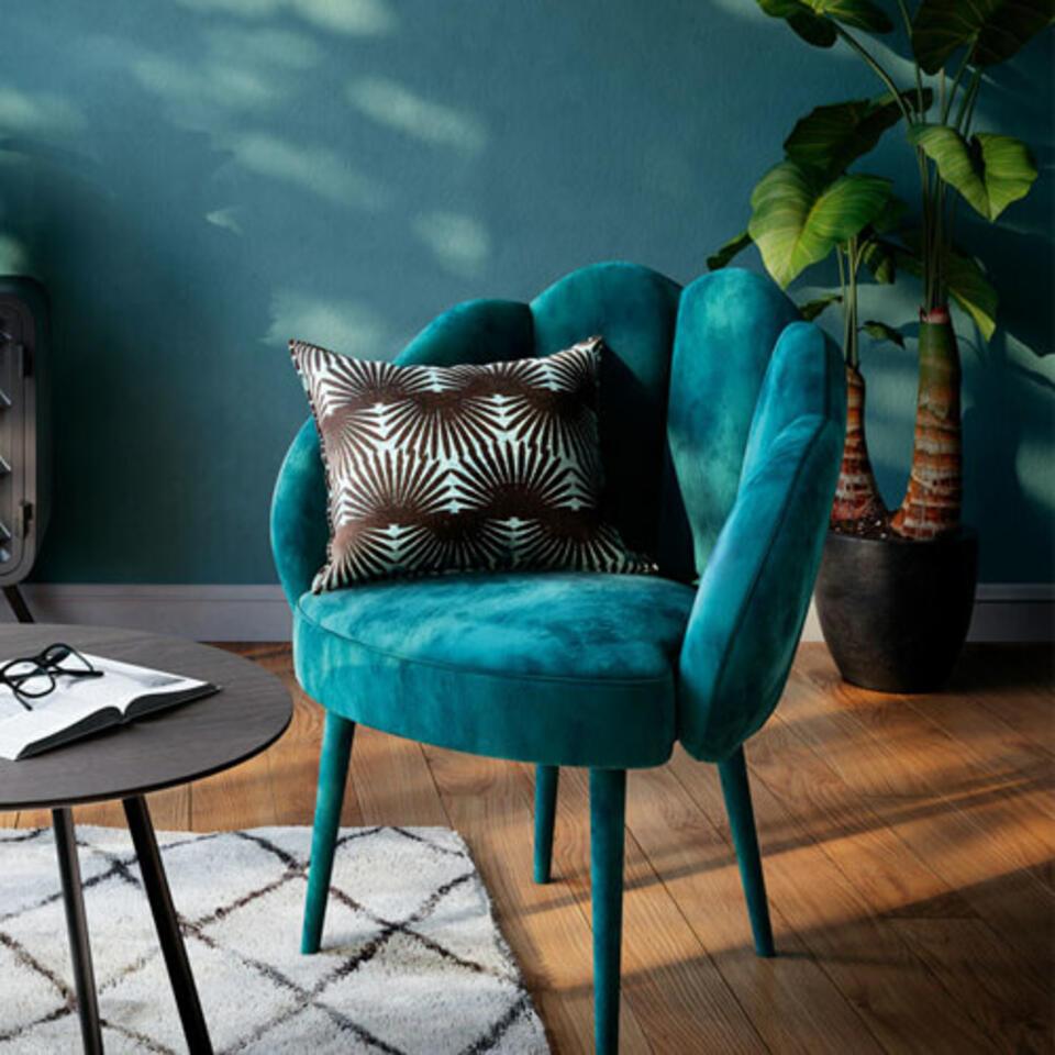 fauteuil bleu canard velours