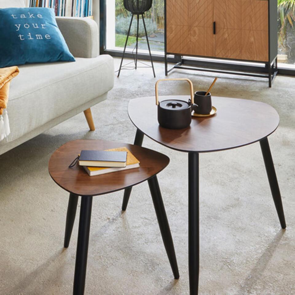 table basse en bois style vintage