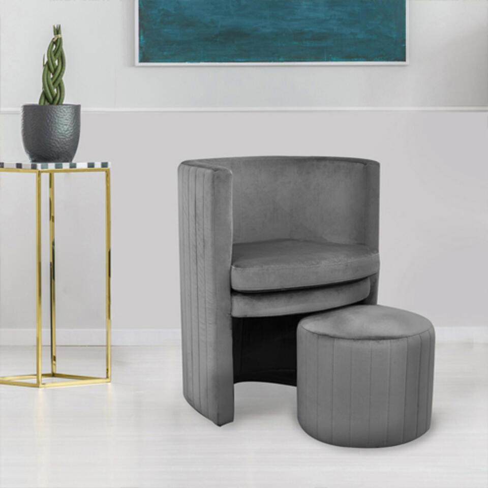 fauteuil velours avec repose pieds