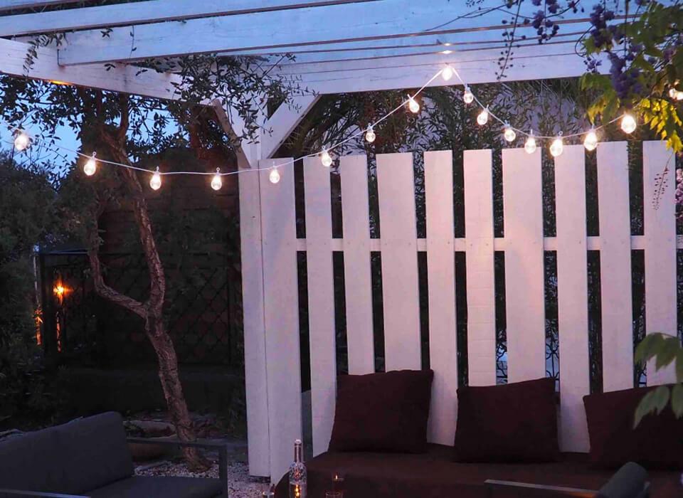 ghirlande per esterno guiguette con lampadine