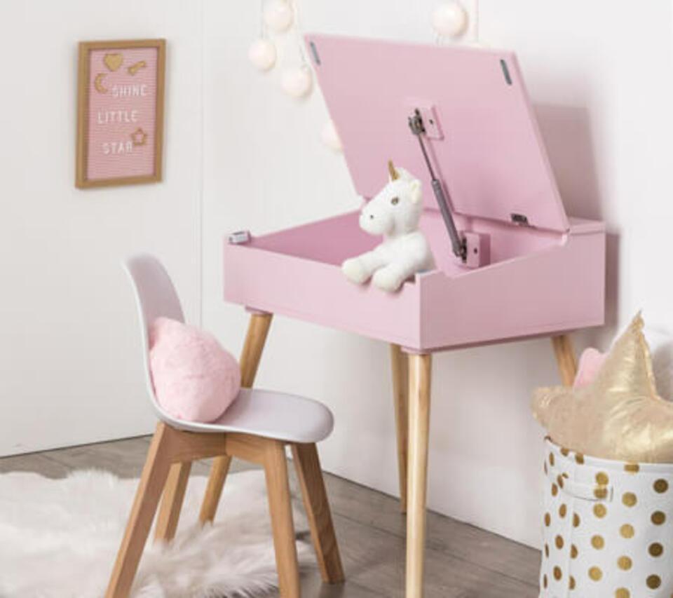 scrivania rosa bambina con cassetto