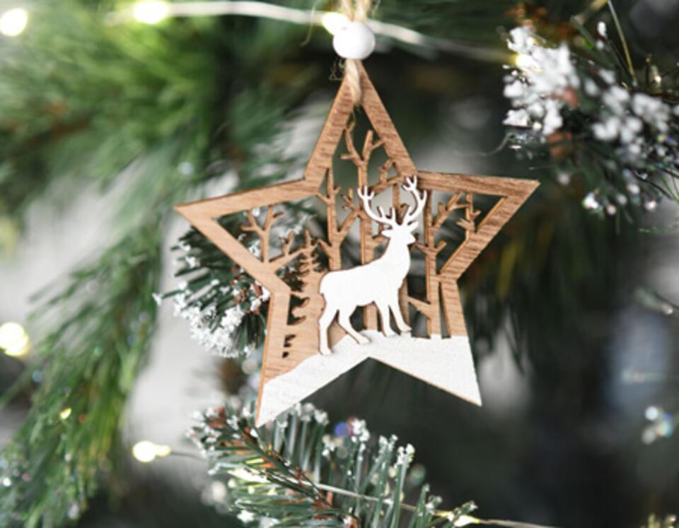 decoration de Noël bois et blanc