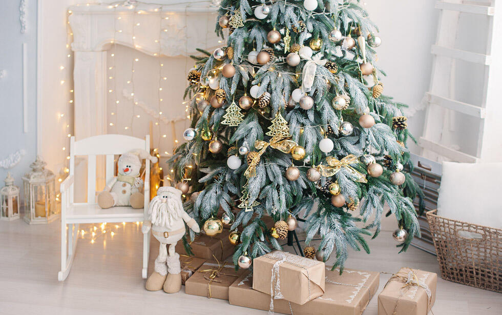 sapin de Noël doré et argent