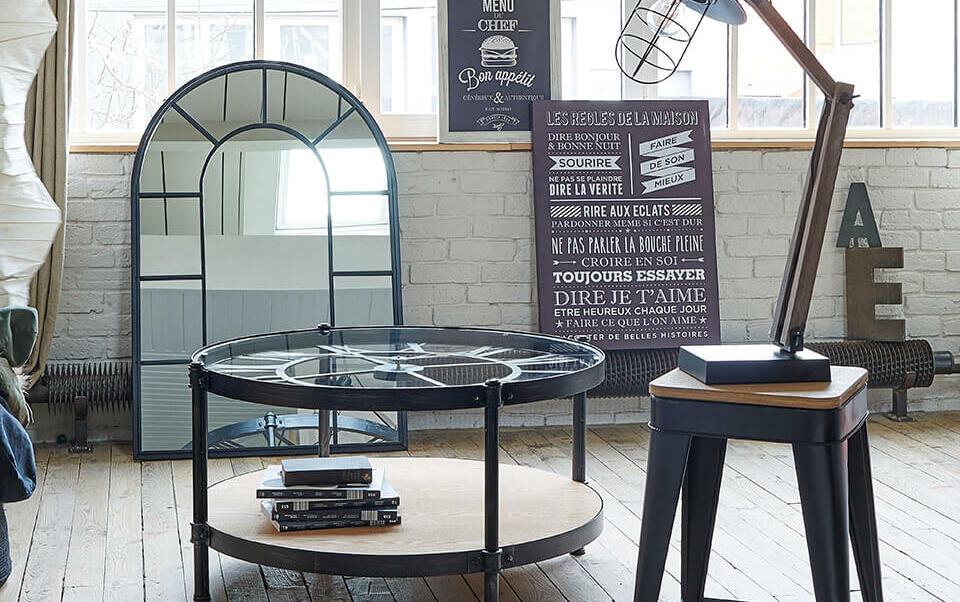 salon avec meuble industriels