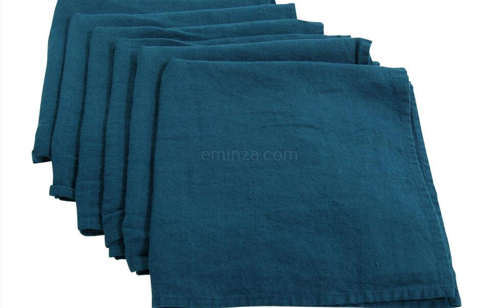 serviette de table bleu canard en lin lavé