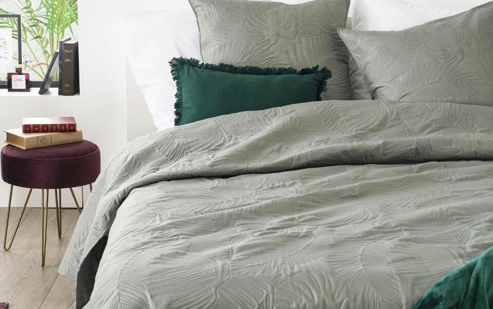 couvre lit motif feuille tropicale
