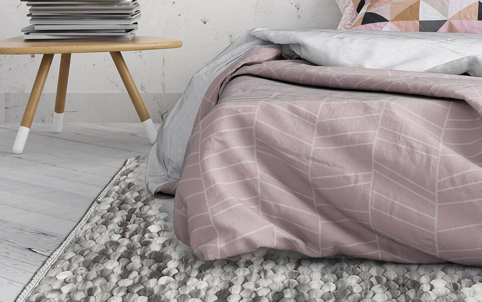 tapis boule gris effet laine