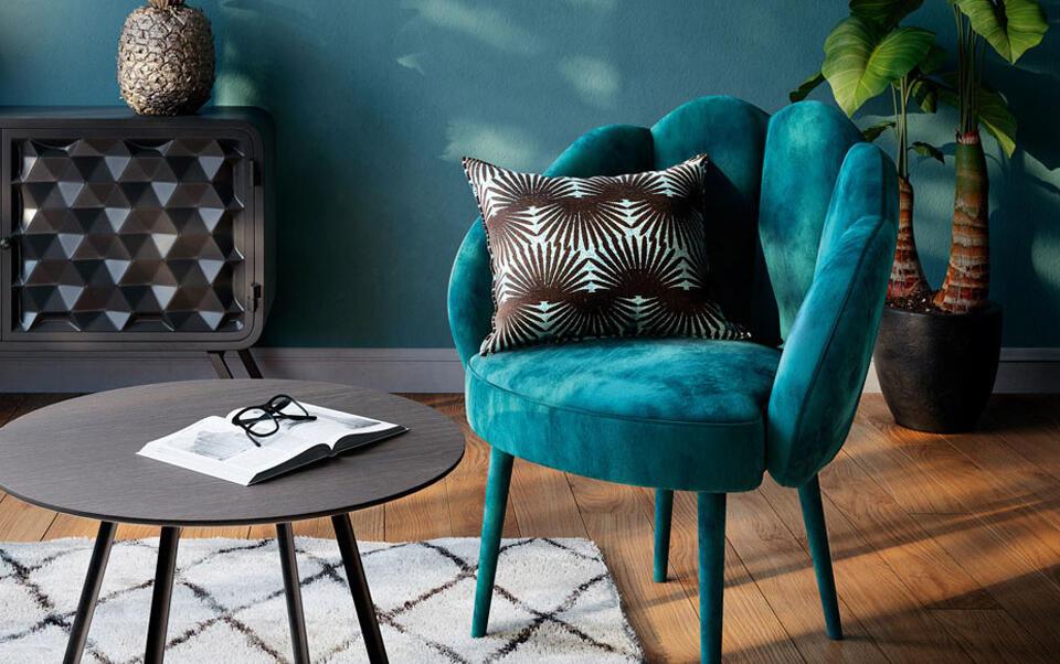 fauteuil velour bleu canard