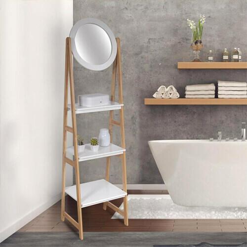 étagère salle de bain avec miroir