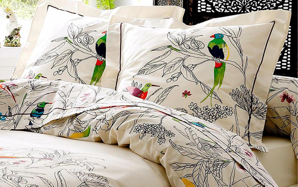 biancheria letto fantasie uccellini