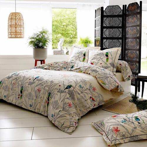 Federa cuscino letto 65x65 con fantasie di uccellini
