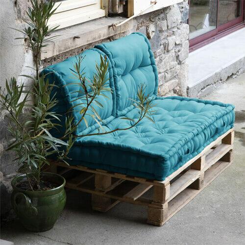 coussins pour palettes bleus