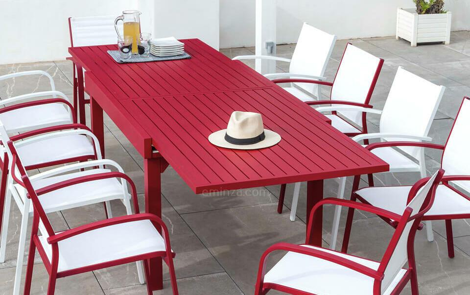 table de jardin aluminium rouge