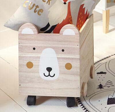 coffre à jouets en bois à roulettes