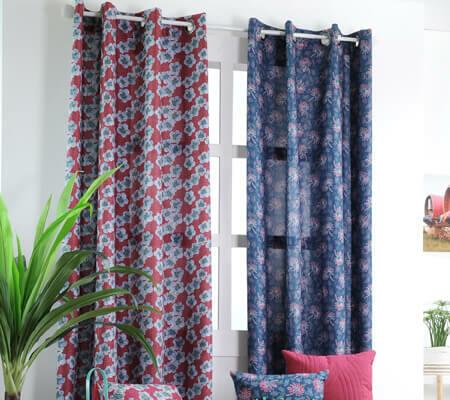 rideau motif floral