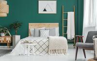 camera da letto accogliente con pareti verdi