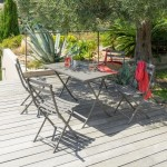 Table de jardin rectangulaire pliante Métal Greensboro (110 x 70 cm) - Taupe