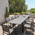 Table de jardin extensible Aluminium Heraklion (320 x 100 cm) - Marron tonka