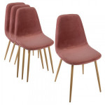 Lot de 4 chaise Roka Velours Rose blush