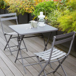 Table de jardin pliante carrée Métal Greensboro (70 x 70 cm) - Gris quartz