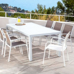 Table de jardin 8 places Aluminium Murano (210 x 100 cm) - Blanche