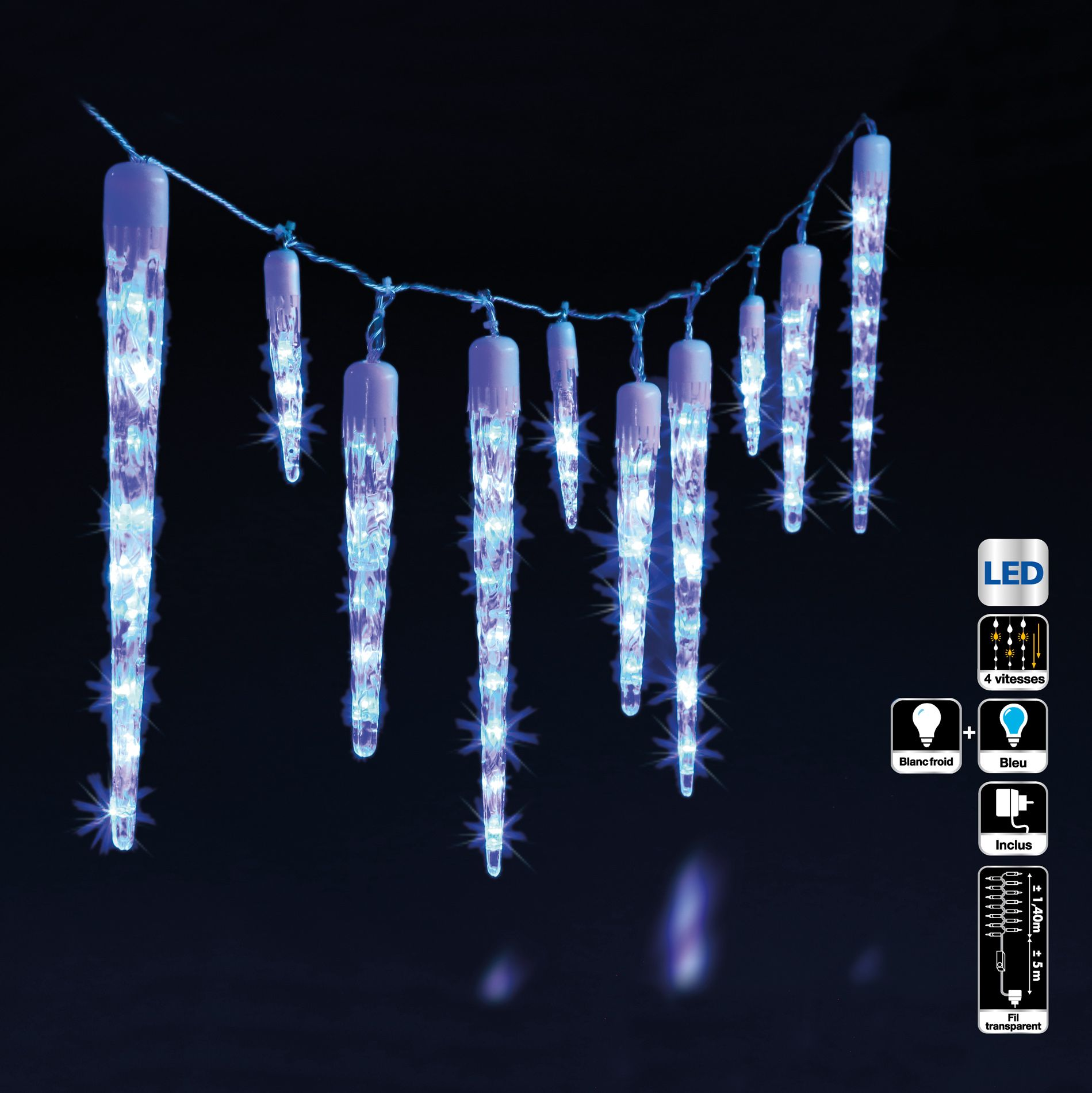 stalactite lumineuse 1 40 m gla ons bleu 63 led guirlande lumineuse eminza. Black Bedroom Furniture Sets. Home Design Ideas
