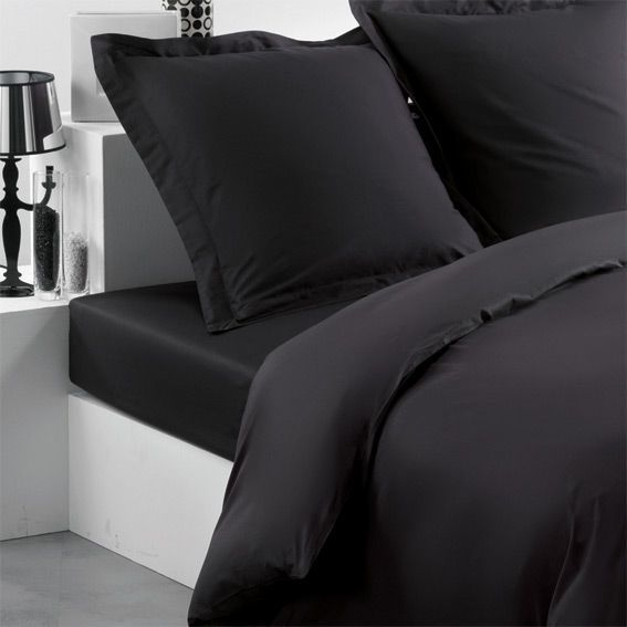 drap housse 160 cm uni charbon drap housse eminza. Black Bedroom Furniture Sets. Home Design Ideas
