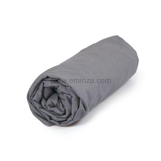 drap housse 160 cm uni gris souris drap housse eminza. Black Bedroom Furniture Sets. Home Design Ideas