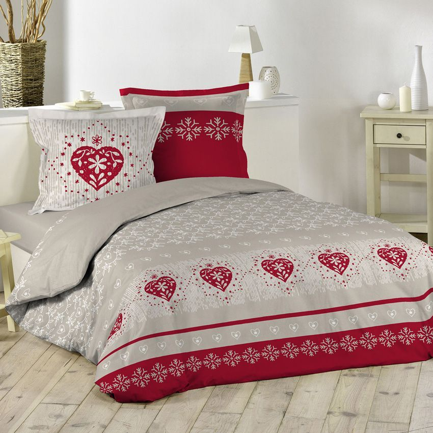 housse de couette et deux taies courchevel rouge linge. Black Bedroom Furniture Sets. Home Design Ideas