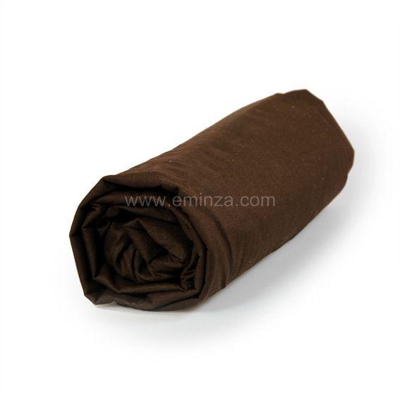 drap housse 140 cm uni cacao drap housse eminza. Black Bedroom Furniture Sets. Home Design Ideas