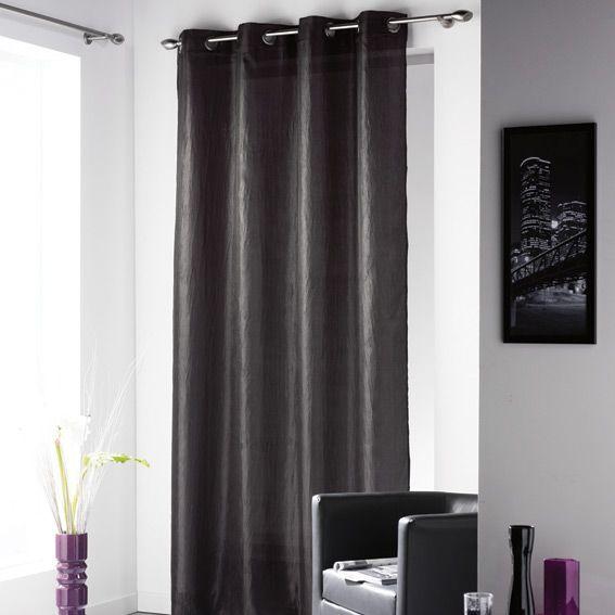 voilage oeillets campus noir voilage eminza. Black Bedroom Furniture Sets. Home Design Ideas