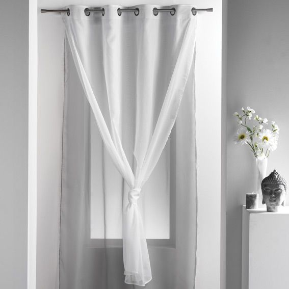 voilage 140 x h240 cm uni double perle voilage eminza. Black Bedroom Furniture Sets. Home Design Ideas