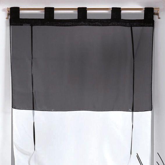 store voilage droit 45 cm bicolore noir store int rieur eminza. Black Bedroom Furniture Sets. Home Design Ideas
