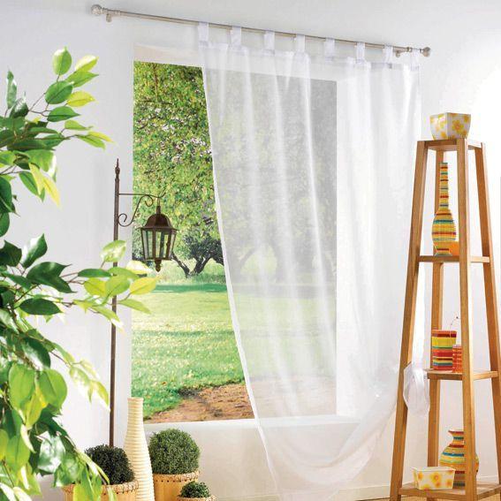 voilage 140 x h240 cm uni blanc voilage eminza. Black Bedroom Furniture Sets. Home Design Ideas